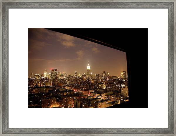 Nyc Elevated View At Night Looking Framed Print