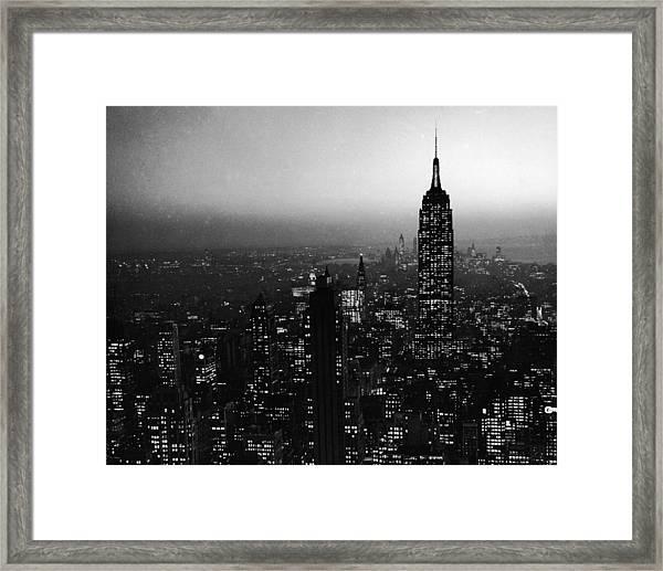Nyc Skyline At Night Framed Print