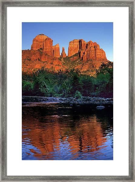 Oak Creek And Red Rock Framed Print