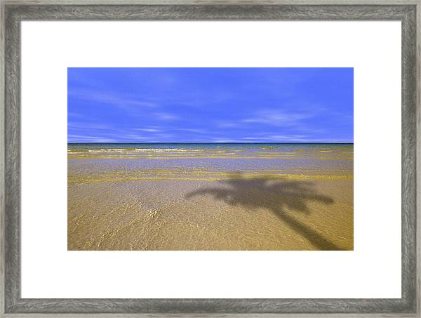 Ocean And Small Waves On Beach With Framed Print