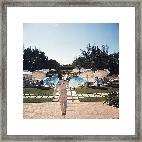 Ocean Club On Paradise Island Framed Print by Slim Aarons
