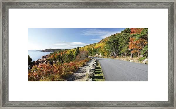 Ocean Drive Road Panorama, Acadia Framed Print by Picturelake