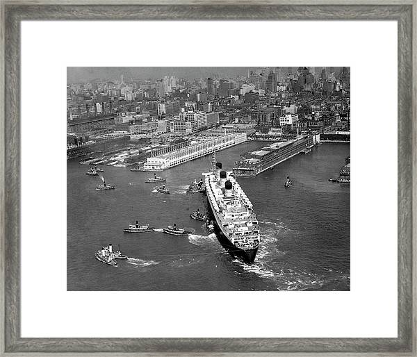 Ocean Liner With Tug Boats In Ny Harbor Framed Print