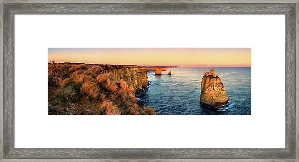 Ocean Stacks Framed Print by Bruce Hood