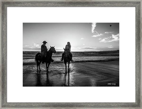 Ocean Sunset On Horseback Framed Print