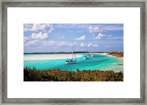 Ocean View From Warderick Cay In Exumas Framed Print