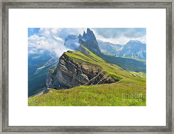 Odle Mountains Chain Separating The Framed Print