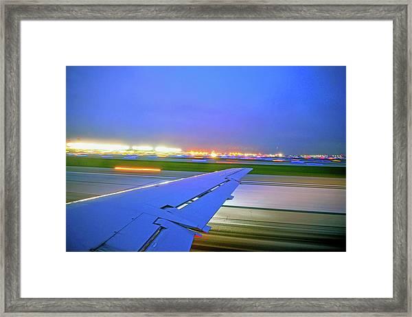 O'hare Night Takeoff Framed Print