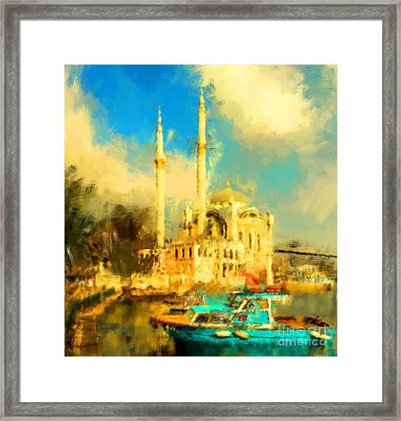 Oil Paint Istanbul View Bosphorus Framed Print