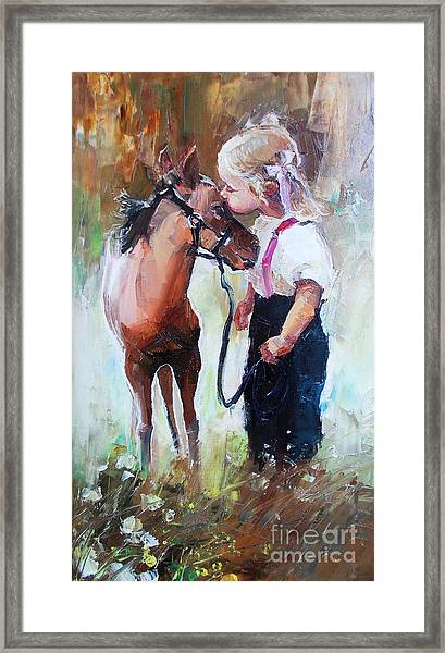 Oil Painting Of Little Girl Petting Her Framed Print