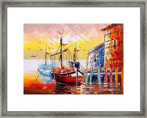 Oil Painting - Venice, Italy Framed Print