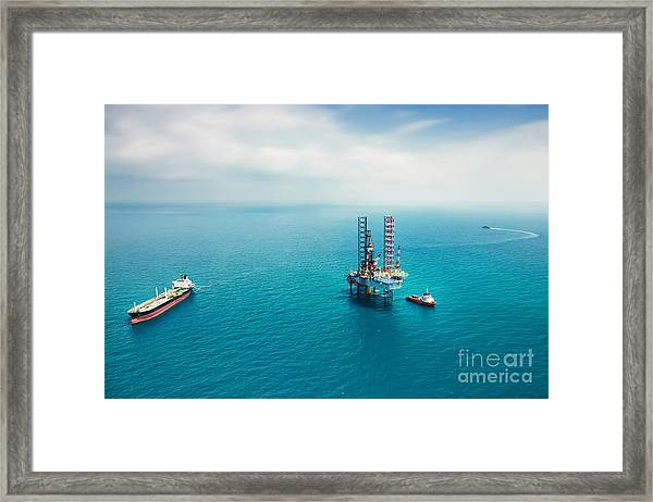 Oil Rig In The Gulf Framed Print