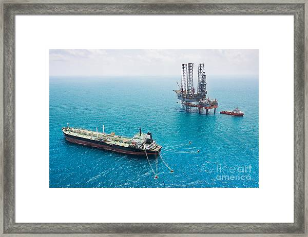 Oil Tanker And Oil Rig In The Gulf Framed Print