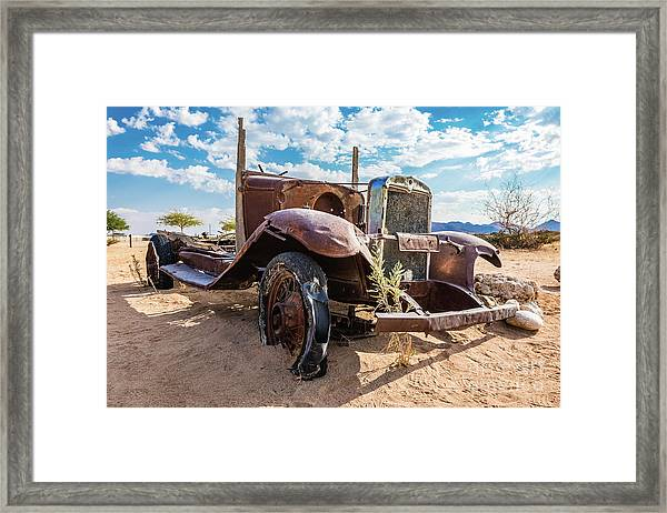Old And Abandoned Car 3 In Solitaire, Namibia Framed Print