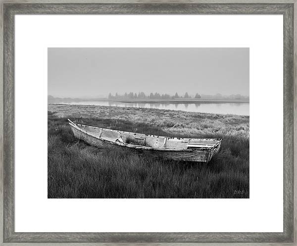 Old Boat In Tidal Marsh Framed Print