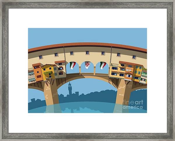 Old Bridge In Florence Flat Illustration Framed Print