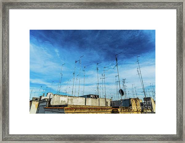 Old Buildings In The City Of Bari With Roofs Full Of Old Televis Framed Print