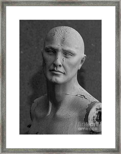 Old Decaying Mannequin, Shot On B&w Framed Print by Conrad Levac