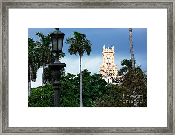 Old Hotel With Palm Trees In Havana Framed Print