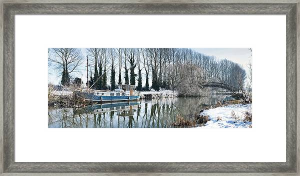 Old House Boat On The River Thames In Winter Framed Print by Tim Gainey