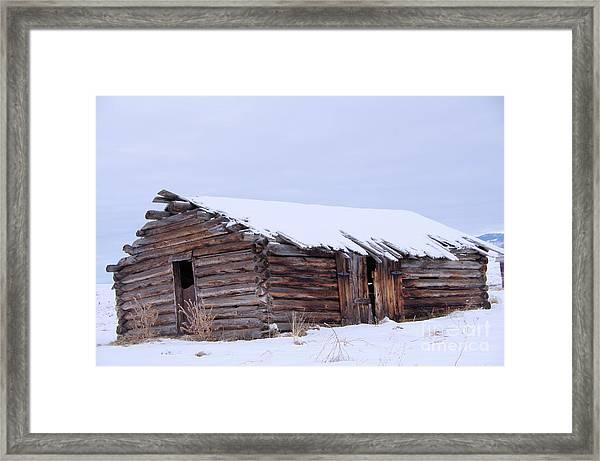 Old Log Cabin Cabin In Snowfall Framed Print