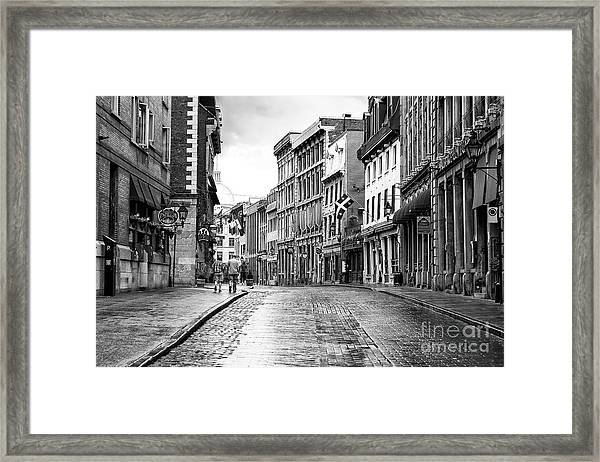 Old Montreal Cobblestone Streets Framed Print