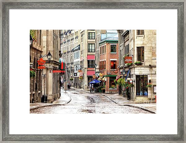 Old Montreal Morning Street Scene 2010 Framed Print