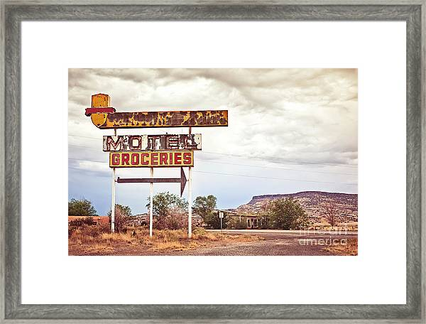 Old Motel Sign On Route 66, Usa Framed Print