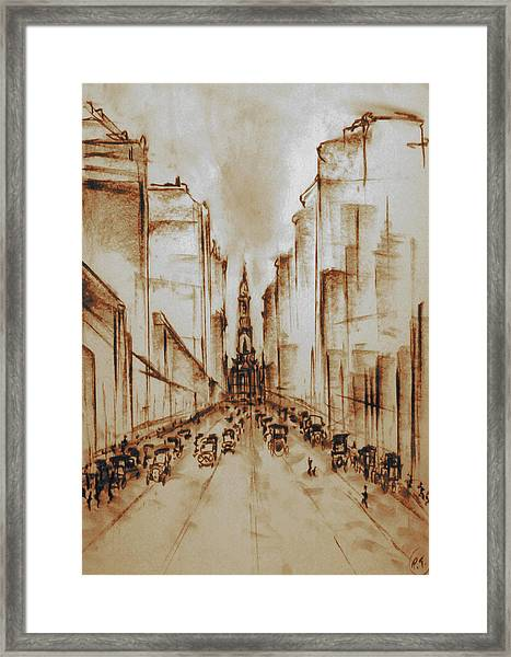 Old Philadelphia City Hall 1920 - Pencil Drawing Framed Print