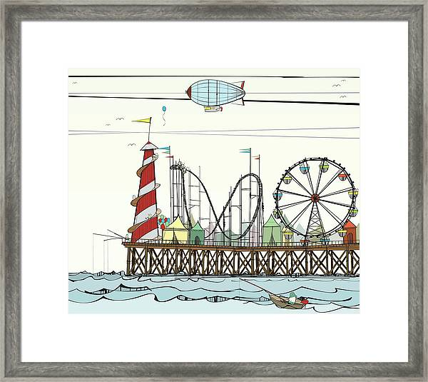Old Pier With Fairground Attractions Framed Print