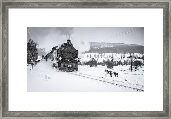 Old Steam Train Puffing Across Winter Framed Print