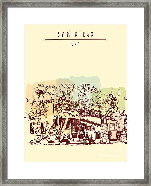 Old Town Historic Buildings In San Framed Print