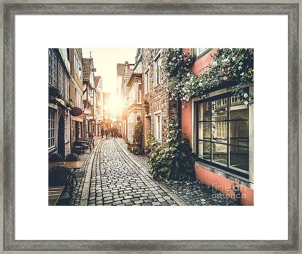 Old Town In Europe At Sunset With Retro Framed Print