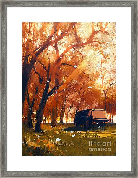 Old Traveling Van In Beautiful Autumn Framed Print