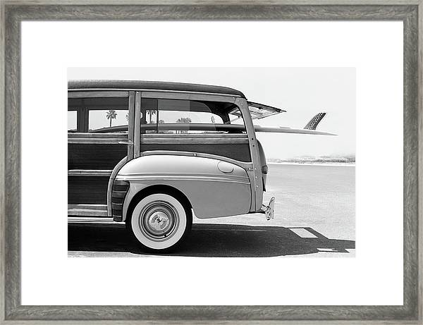 Old Woodie Station Wagon With Surfboard Framed Print