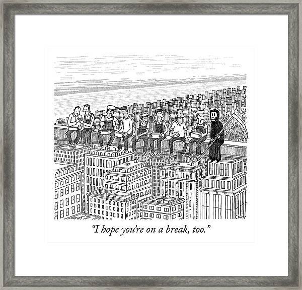 On A Break Framed Print by Tom Chitty