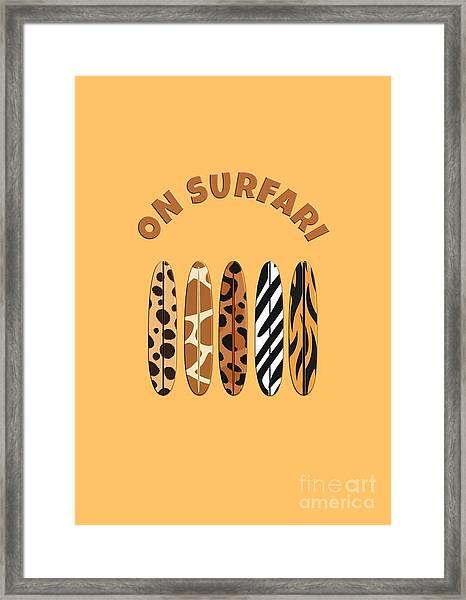On Surfari Animal Print Surfboards  Framed Print