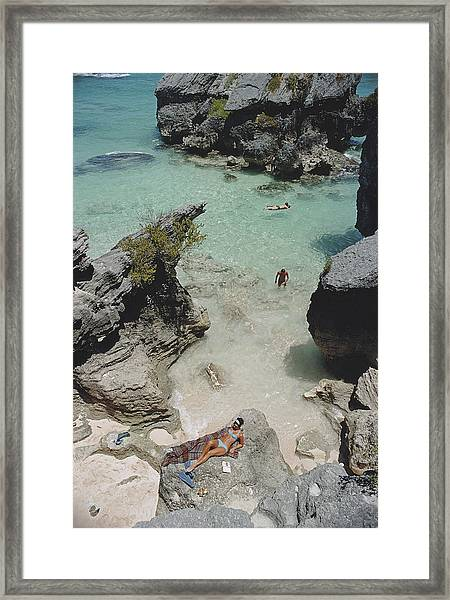 On The Beach In Bermuda Framed Print by Slim Aarons