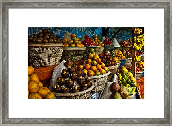 Open Air Fruit Market In The Village Framed Print