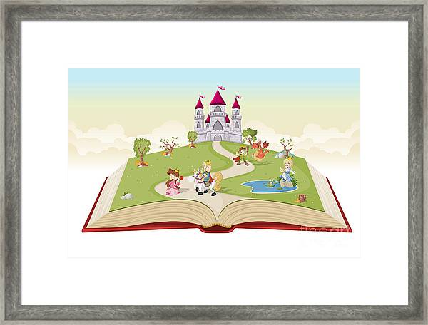 Open Book With Cartoon Princesses And Framed Print