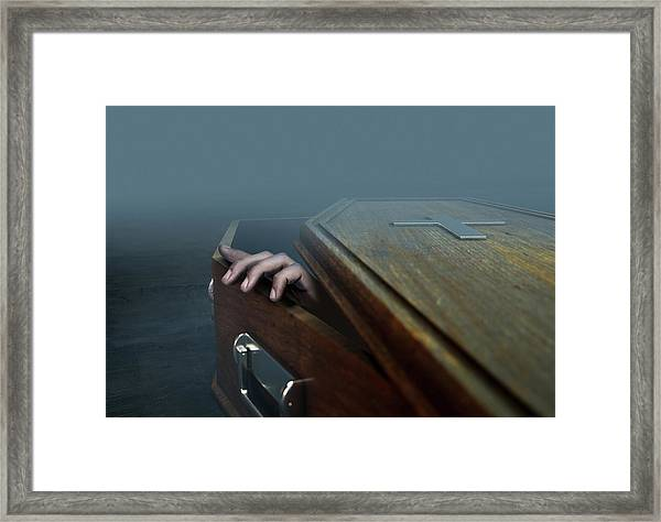 Open Coffin Hand And Crucifix Framed Print