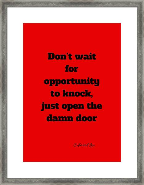 Open The Door      Black On Red Framed Print