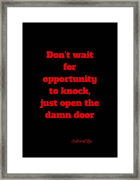 Open The Door     Red On Black Framed Print