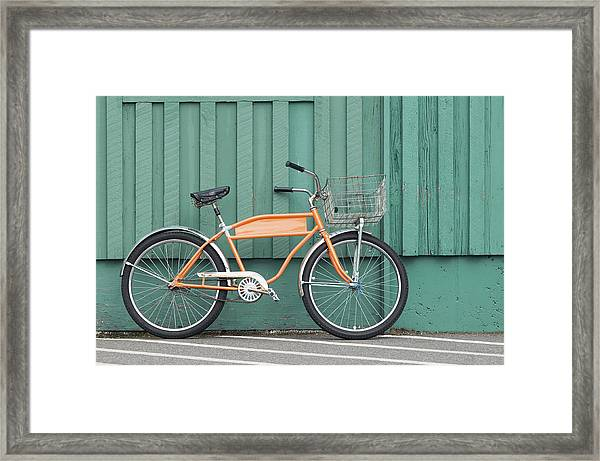 Orange Bike Framed Print by Tbd