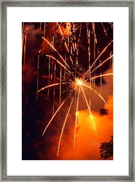 Orange Fireworks Framed Print