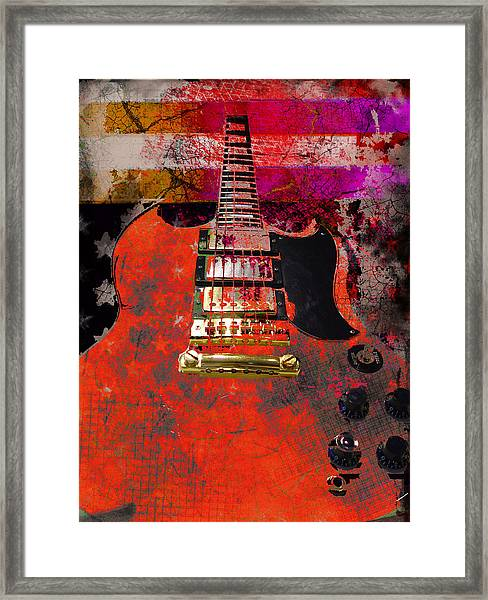 Orange Electric Guitar And American Flag Framed Print