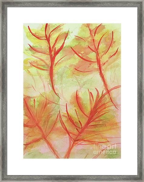 Orange Fanciful Leaves Framed Print