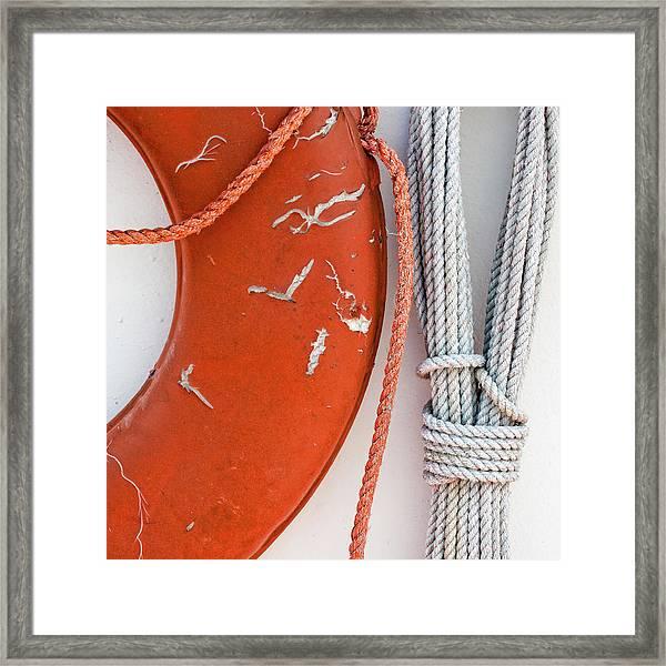 Orange Life Ring Framed Print
