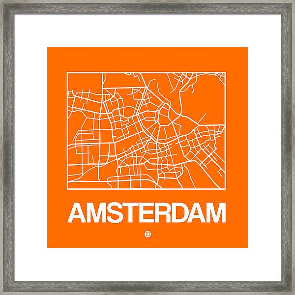 Orange Map Of Amsterdam Framed Print