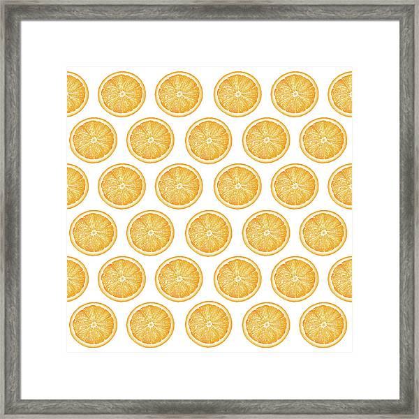 Orange Slice Pattern 1 - Tropical Pattern - Tropical Print - Lemon - Orange - Fruit - Tangerine Framed Print